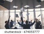 excited businesswoman throwing... | Shutterstock . vector #674053777