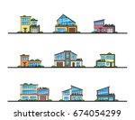 set of urban and suburban... | Shutterstock .eps vector #674054299