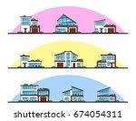 set of urban and suburban... | Shutterstock .eps vector #674054311