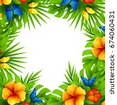 summer tropical hawaiian... | Shutterstock . vector #674060431