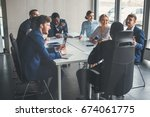 group of business people with... | Shutterstock . vector #674061775