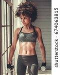 attractive afro american girl...   Shutterstock . vector #674063815