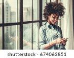 beautiful afro american girl in ...   Shutterstock . vector #674063851
