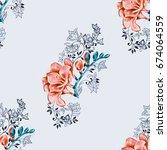 seamless pattern of orange... | Shutterstock . vector #674064559