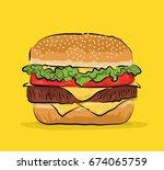 burger vector | Shutterstock .eps vector #674065759