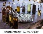 brazilian cachaca bottle over a ...   Shutterstock . vector #674070139