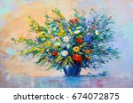 oil painting a bouquet of... | Shutterstock . vector #674072875