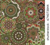 pattern with mandalas. vintage...   Shutterstock .eps vector #674073844