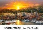 monaco at sunset. main marina... | Shutterstock . vector #674076631
