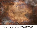 aged copper plate texture  old... | Shutterstock . vector #674077009