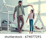 cute little daughter and her...   Shutterstock . vector #674077291