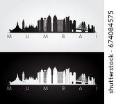 mumbai skyline and landmarks... | Shutterstock .eps vector #674084575