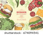 burgers and ingredients for... | Shutterstock .eps vector #674094541