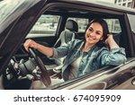 beautiful girl in jean jacket... | Shutterstock . vector #674095909