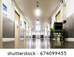 corridor interior of hospital.... | Shutterstock . vector #674099455