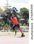disabled man athlete training... | Shutterstock . vector #674099599