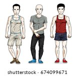 handsome young men group... | Shutterstock .eps vector #674099671