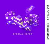 sale banner in purple color  3d ... | Shutterstock .eps vector #674100145