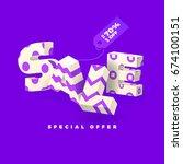 sale banner in purple color  3d ... | Shutterstock .eps vector #674100151