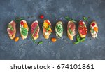 traditional spanish tapas on... | Shutterstock . vector #674101861