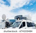 tv media television trucks with ... | Shutterstock . vector #674103484