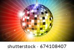 colorful disco ball | Shutterstock .eps vector #674108407