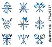 vintage weapon emblems set.... | Shutterstock .eps vector #674108587