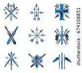 vintage weapon emblems set.... | Shutterstock .eps vector #674108851