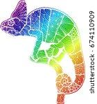 chameleon. lizard. amphibian.... | Shutterstock .eps vector #674110909