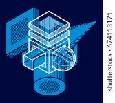 abstract vector isometric... | Shutterstock .eps vector #674113171