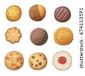 round cookies set. top view... | Shutterstock .eps vector #674113591