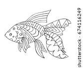 goldfish. zentangle fish for... | Shutterstock .eps vector #674116249