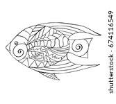 hand drawn zentangle design of... | Shutterstock .eps vector #674116549