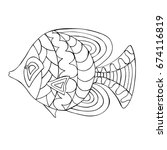 zentangle stylized cartoon fish.... | Shutterstock .eps vector #674116819