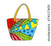 zentangle beach bag with... | Shutterstock .eps vector #674117605
