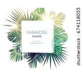 green summer tropical... | Shutterstock . vector #674118055