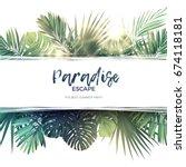 green summer tropical...   Shutterstock . vector #674118181