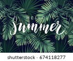 summer tropical calligraphy... | Shutterstock . vector #674118277