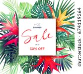 summer floral sale banner.... | Shutterstock . vector #674119264