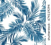 seamless indigo blue pattern... | Shutterstock . vector #674119294