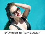 portrait of young sexy smiling... | Shutterstock . vector #674120314