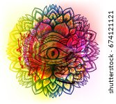 third eye with dots mandala... | Shutterstock .eps vector #674121121