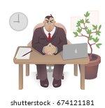boss in the office vector ... | Shutterstock .eps vector #674121181