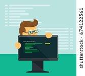 vector system administrator or... | Shutterstock .eps vector #674122561