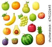 cartoon fruits icons set... | Shutterstock .eps vector #674122645