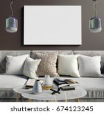 mock up poster in interior with ... | Shutterstock . vector #674123245