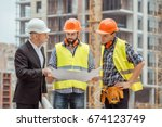 male work building construction ... | Shutterstock . vector #674123749