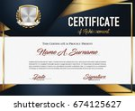 certificate of achievement.... | Shutterstock .eps vector #674125627