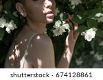 sensual lips of a beautiful... | Shutterstock . vector #674128861
