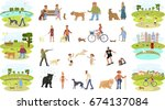 people walking with different... | Shutterstock .eps vector #674137084